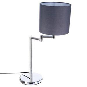 LAMPE A POSER Lampe metal chromé abat jour gris hauteur 54cm