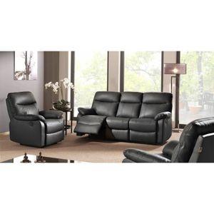 fauteuil salon cuir noir achat vente fauteuil salon cuir noir pas cher cdiscount. Black Bedroom Furniture Sets. Home Design Ideas