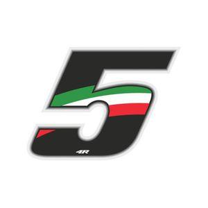 ACCESSOIRE CASQUE Nombre de Course 5 Grand, Drapeau Italien, 10 x 7,