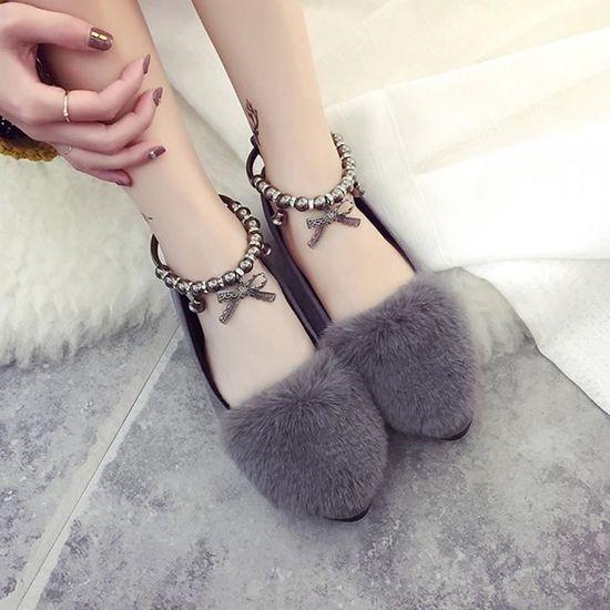 Femmes Mesdames Slip On Sliders Fluffy Faux Fourrure Flat Slipper Flip Flop Chaussures simples Gris Gris Gris - Achat / Vente slip-on