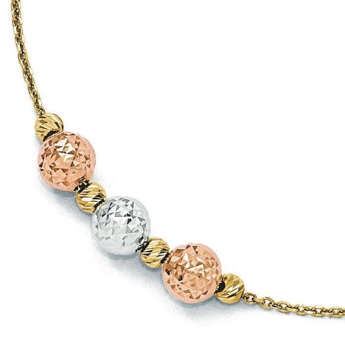 Tri-Couleur 14 carats-Diamant-cut Bracelet à perles-7,5 cm