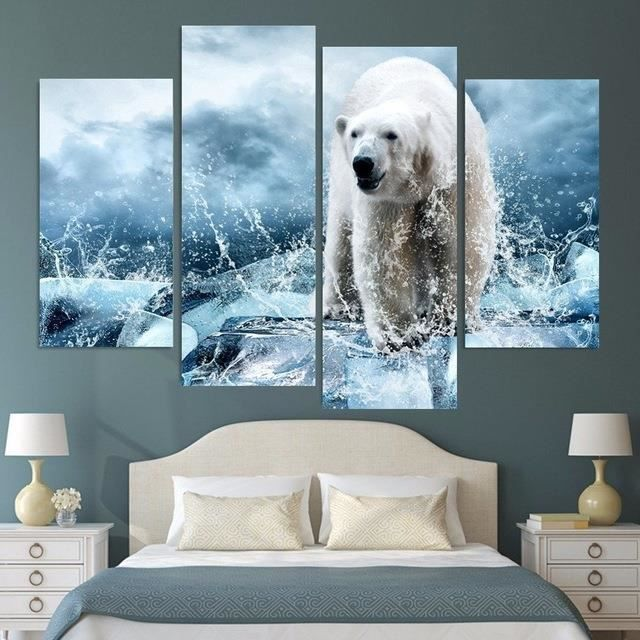 peinture murale 4 pi ces iceberg ours polaires sceaux. Black Bedroom Furniture Sets. Home Design Ideas