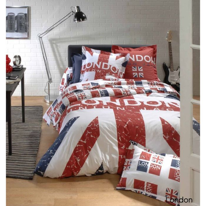 housse de couette london 240x260 Housse de couette 140x200cm 100% coton LONDON Union Jack   Achat  housse de couette london 240x260