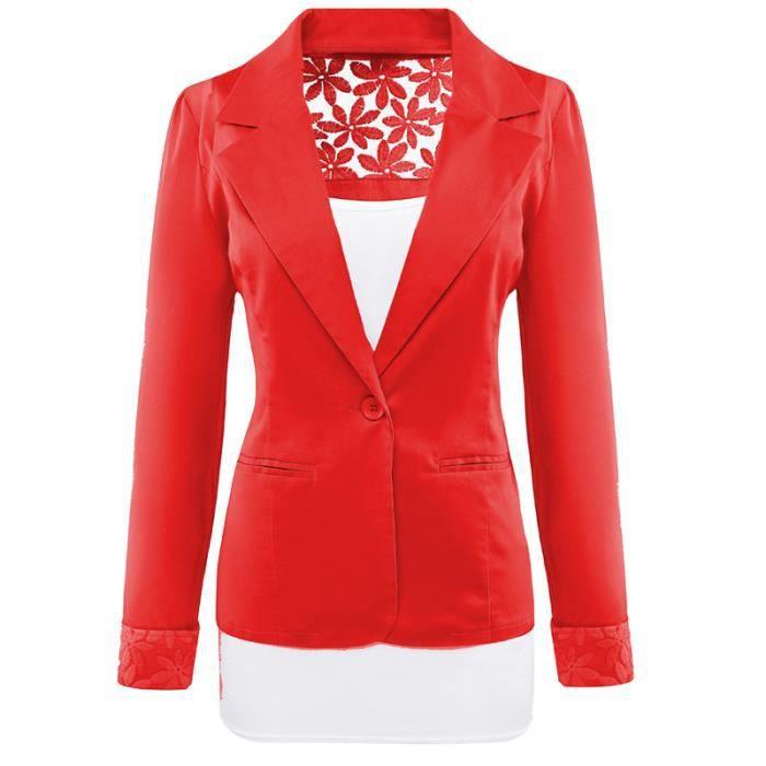 Veste costard femme rouge