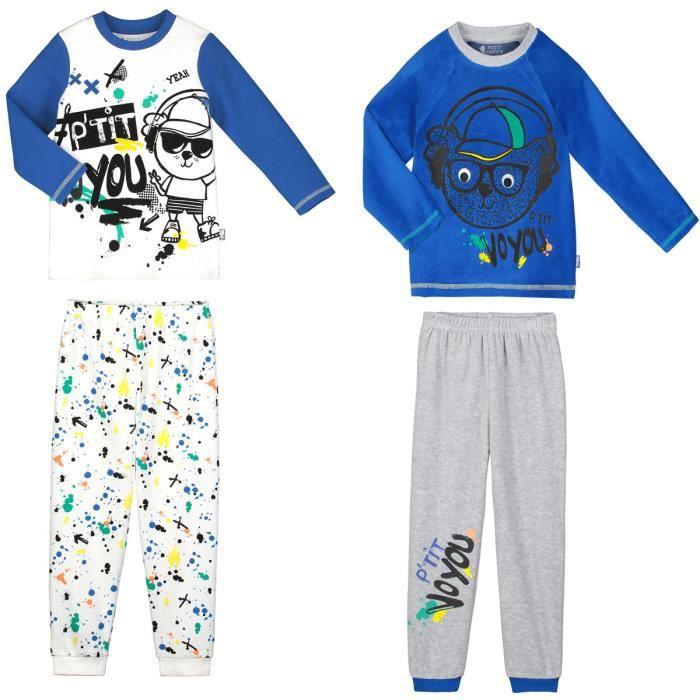 7308b2af88073 Lot de 2 pyjamas garçon manches longues P'tit Voyou - Taille - 2 ans (92 cm)