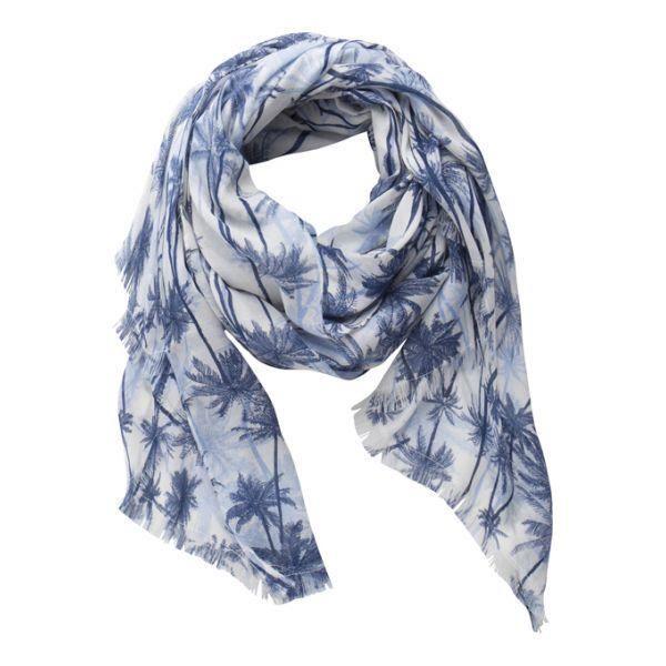Foulard Pieces Bleu Palmiers PCNOE 17065574 BLUE DEPTHS - Achat ... c23d3b85f4e