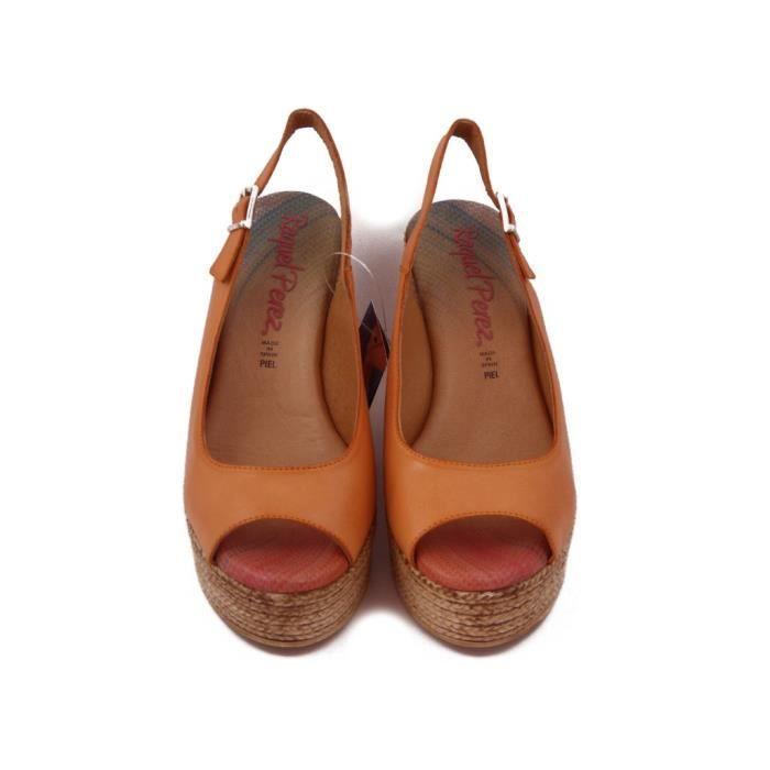 Raquel Perez Sandal en cuir orange, talon 10cm. 1030