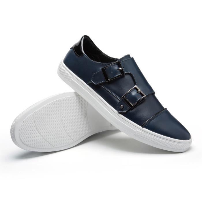 09612-Bleu-43 Chaussures Mocassins en cuir de sport légères sauvages respirantant hommes de mode portables