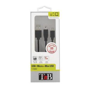 TNB Câble 2 en 1 micro + mini USB 1m - Noir