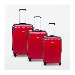 VALISE - BAGAGE Lot de 3 valises rigide 4 roues Horizon rouge Metz