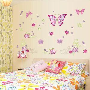 d8e10cb21fed38 OBJET DÉCORATION MURALE Les Nouveaux Stickers Muraux Papillon Rose Chambre