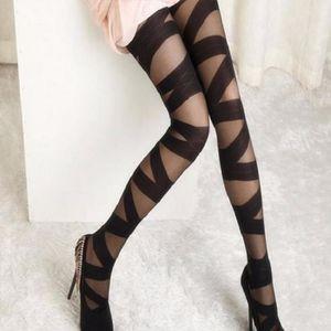 COLLANT - JAMBIERE Collants noir transparent à bandes opaques, élégan