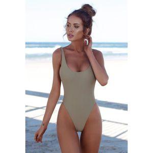 MAILLOT DE BAIN Maillot de Bain femme 1 pièce bikini de plage gris ab0eff65bdc