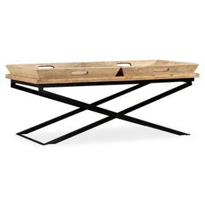 8ea14ba709245a Table basse style contemporain Table de Salon Bois de manguier massif 110 x  55 x 42