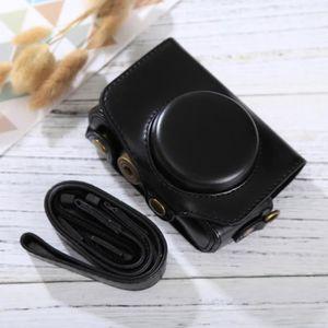 COQUE - HOUSSE - ÉTUI Etui en cuir appareil photo noir pour Canon PowerS
