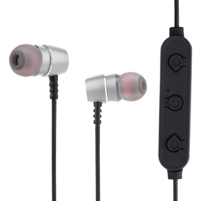 Bluetooth V4.2 Écouteur Sans Fil Pour Casque Durable Avec Micro 2.4ghz Écouteurs Réduction Du Bruit -argent