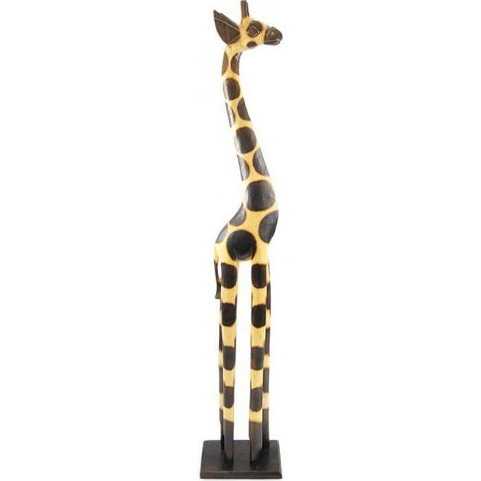 STATUE - STATUETTE Statue Girafe debout H100cm en bois, déco africain