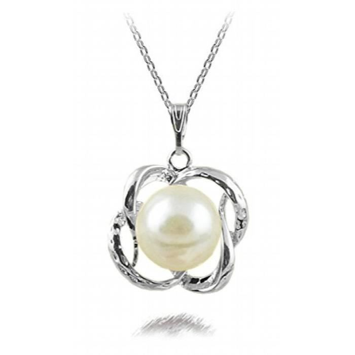Womens Striking Rhodium Plated Pearl Studded Alloy Pendant For AndPU7JF