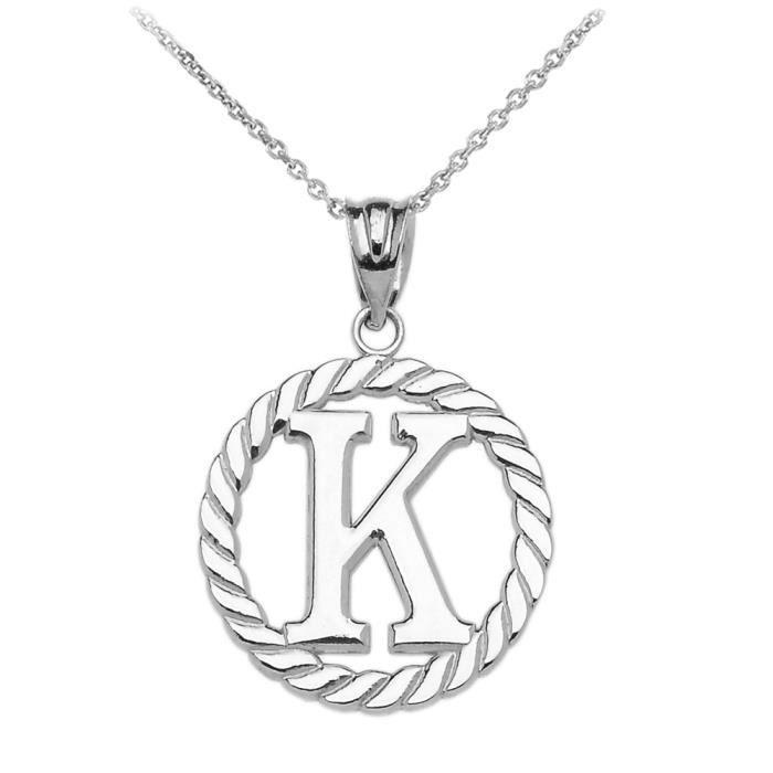 Collier Femme Pendentif 925 Argent Fin K Initiale À Corde Cercle (Livré avec une 45cm Chaîne)