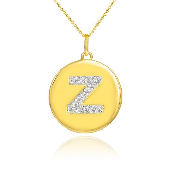 Pendentif 10 ct 471/1000 Or lettre initiale Zpendentif en forme de diamant Disc
