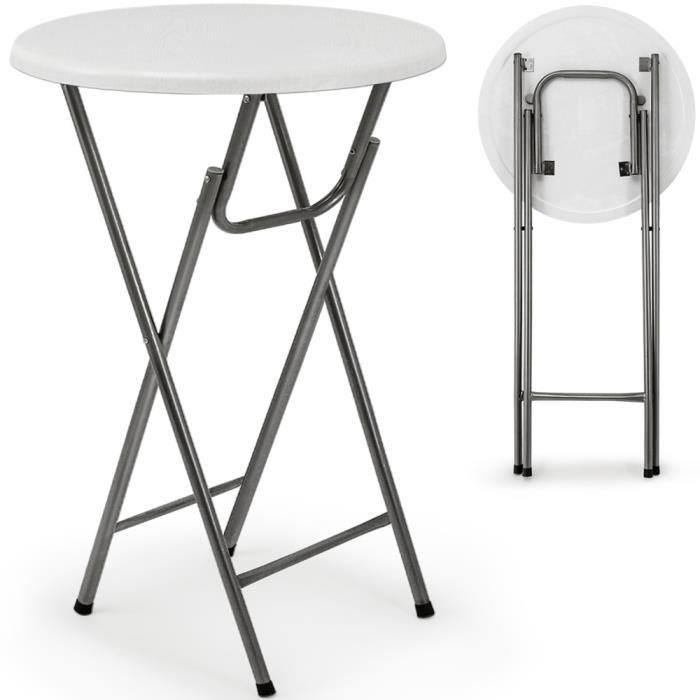 Table haute pliable - Table de bar pliante blanc - Achat / Vente ...
