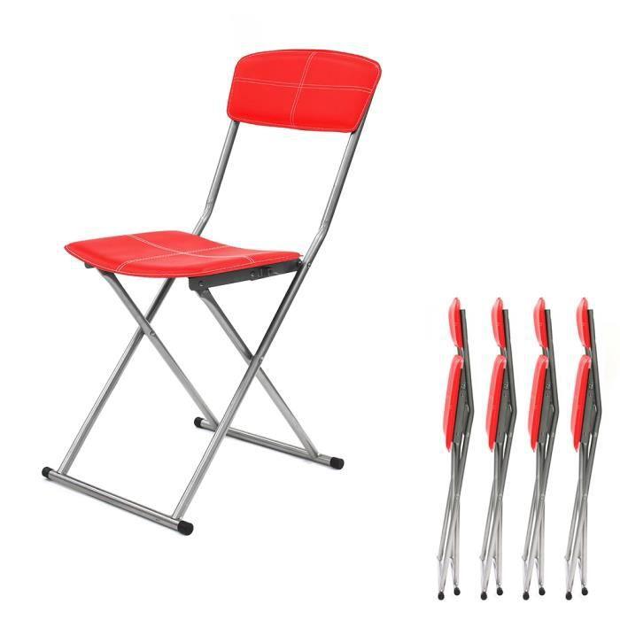 CHAISE Chaise Pliante Rouge Compact PU Lot De 4