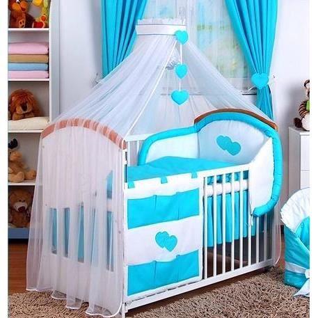 Set linge lit bébé 12 pcs ciel de lit, nid d\'ange Bleu Turquoise ...