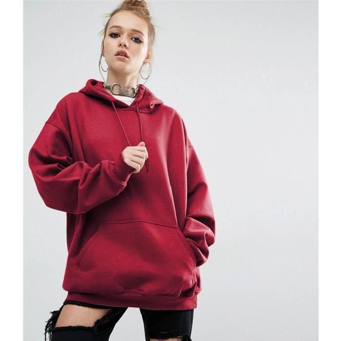 sweat-shirt pull-over oversize à capuche femme lâche hoodies-hooded  automne printemps hip-hop manche longue 455e0d84389d