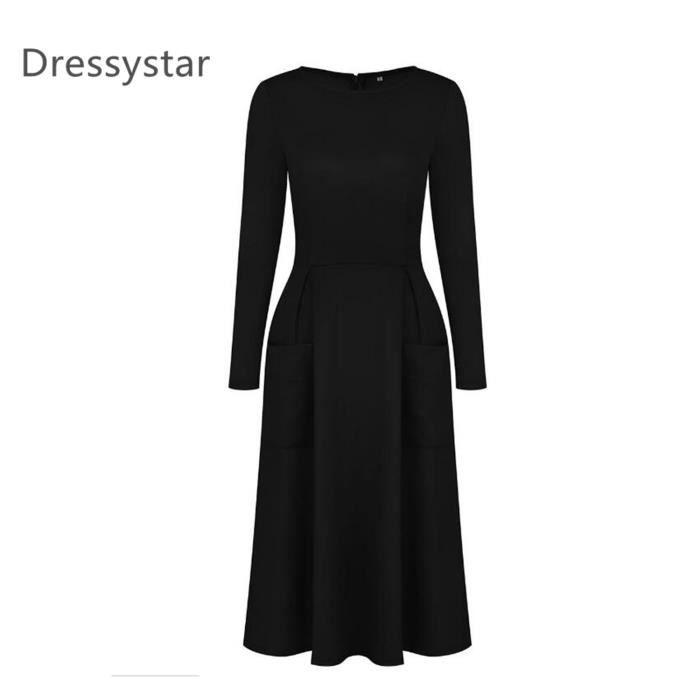 de057658d90 Dressystar Robe femme Manches longues Robe de soirée cocktail Casual avec  deux poches 3 couleurs