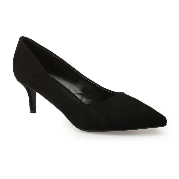 691ccb23372fc4 Escarpins noirs en suédine-36 Noir Noir - Achat / Vente escarpin ...