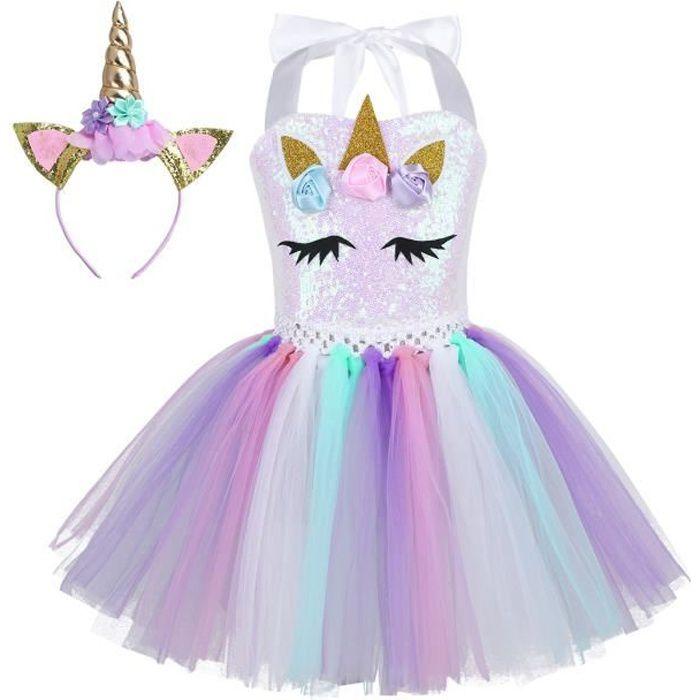 Déguisement Licorne Carnaval Robe Princesse Fille Robe Ballet Danse  Paillettes Jupe Coloré 3D Fleurs performance scène cosplay 46be7c617fe