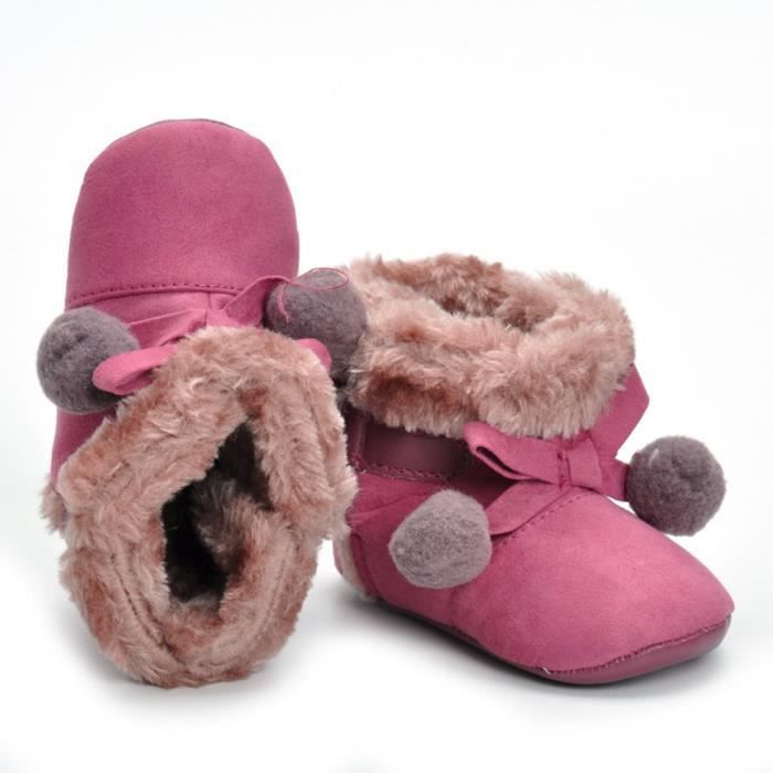 Bébé nouveau-né fille bowknot ball berceau bottes semelle douce prémarcheur chaussures chaudes Rose vif JsU1P