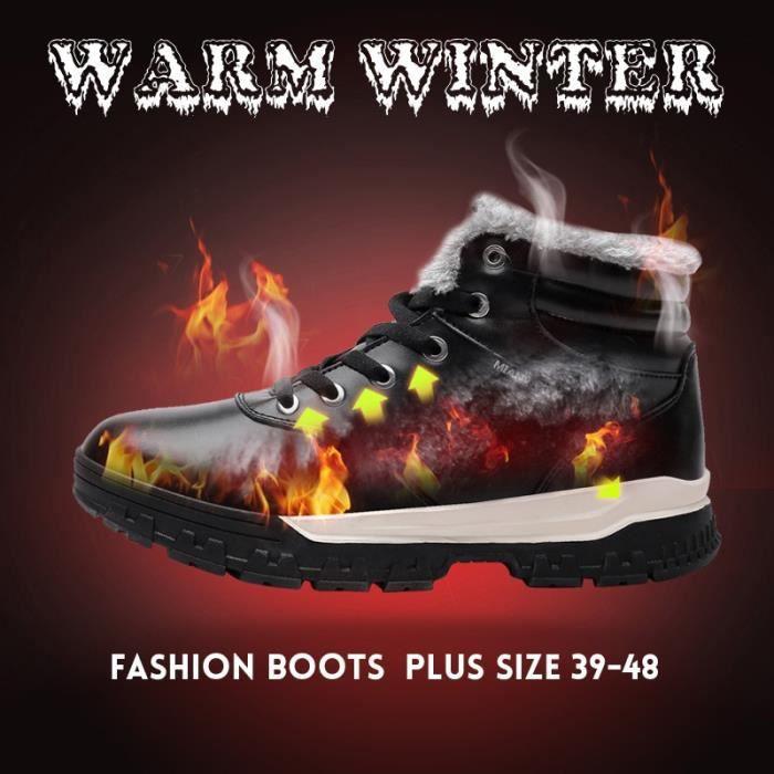 Bottes pour Hommebleu 48 Plus Size 46 47 48 Mode hiver Casual Chaussures chaudes de fourrure court en cuir (noir, bleu_162