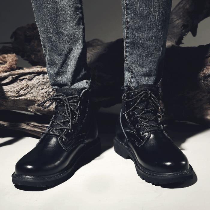 Taille7 Style Martin Interne Noir Vintage Augmentation Coréen Botte Homme wq4xEAn8