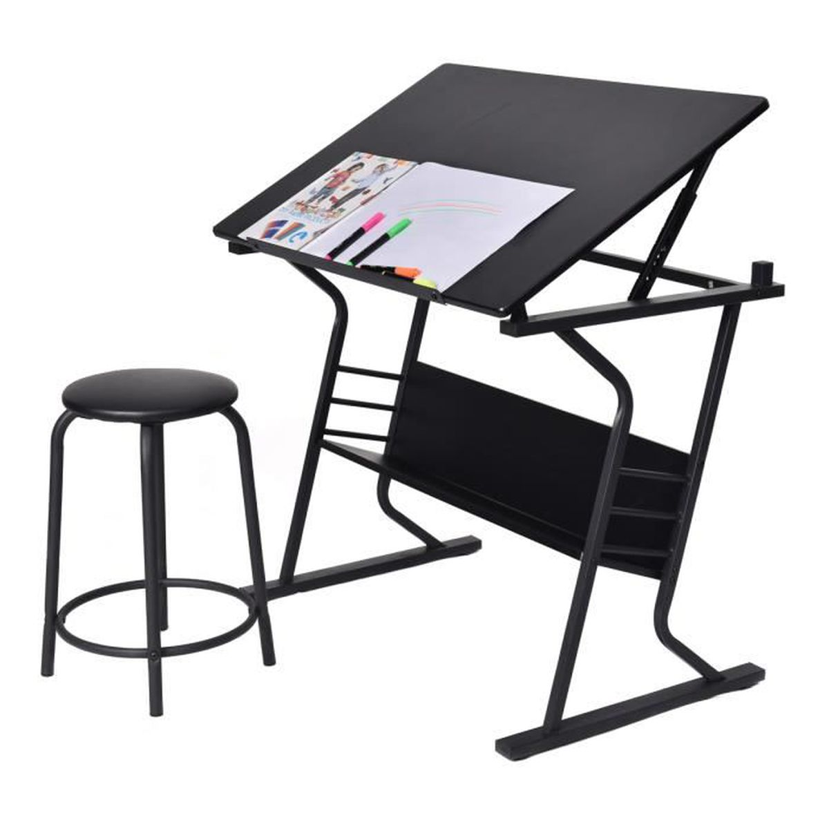 Table dessin inclinable avec tabouret multifonctionnel for Table 6 5 upc
