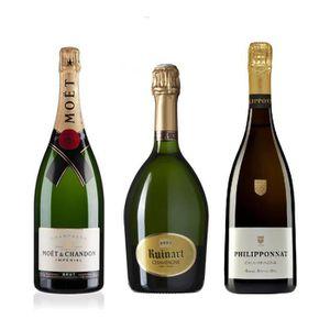 CHAMPAGNE Lot Découverte de 3 Champagnes Brut 75cL
