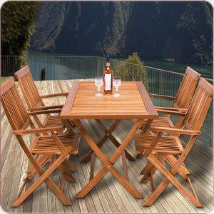 Ensemble salon de jardin 1 table & 4 chaises Sydney - Bois d\'Acacia ...