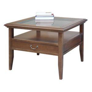 TABLE BASSE Table de salon dessus en cristal