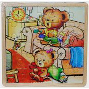 PUZZLE COFFRET 3 PUZZLES EN BOIS 25 pcs FAMILLE OURS