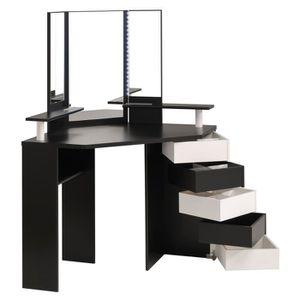 COIFFEUSE GLAM Coiffeuse Avec LED Style Contemporain Noir Et