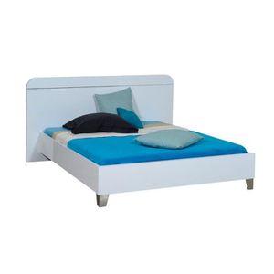 lit blanc laque 160 achat vente lit blanc laque 160 pas cher cdiscount. Black Bedroom Furniture Sets. Home Design Ideas