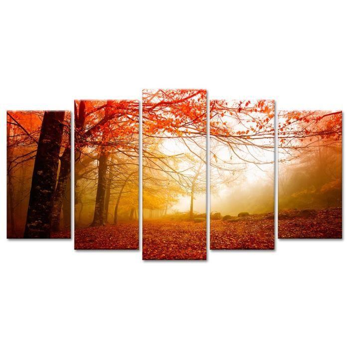 tableau d co paysage for t en automne paysage 150x80 cm achat vente tableau toile. Black Bedroom Furniture Sets. Home Design Ideas