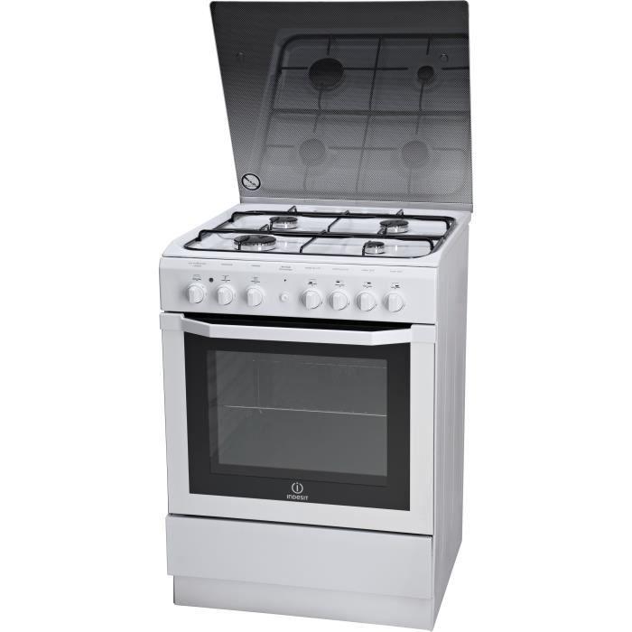 INDESIT I6G6C1AG - Cuisinière à gaz - 4 Zones - 7800W - Four Multifonctions Catalyse - 59L - A - 60x