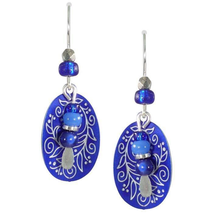 Adajio Femmes par Sienna Ciel Bleu Royal Vigne Gravé ovale Boucles doreilles 7565 J6V5Y