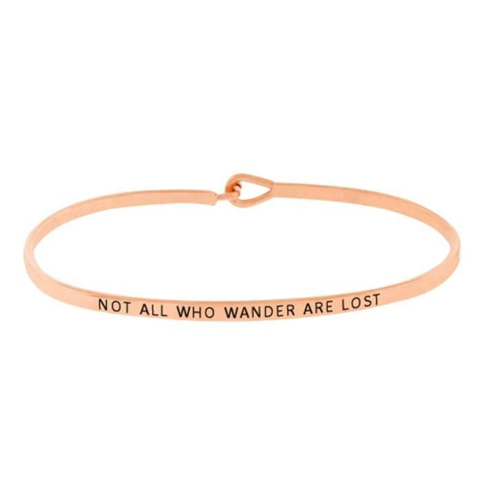 Womens Thin Hook Bangle Bracelet not All Who Wander Are Lost O2MCA