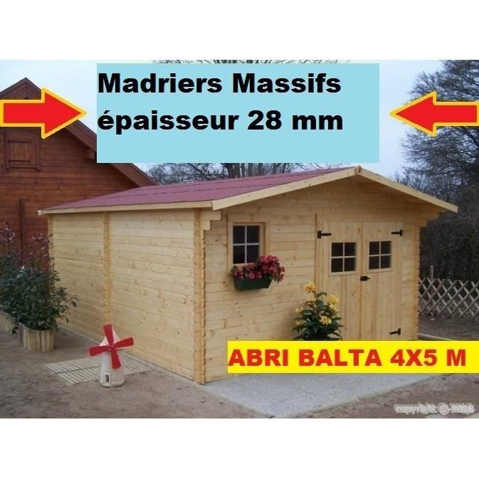 abri de jardin en bois 4x5 m avec plancher 20m2 achat vente abri jardin chalet abri de. Black Bedroom Furniture Sets. Home Design Ideas