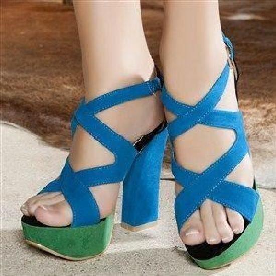 Pieds Haut Escarpins Talon Bleu Nu Chaussures 37 Vert 5FaaXBqwHn