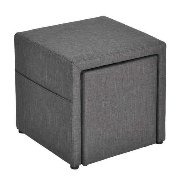 faro pouf coffre avec rangement 43x43x42 cm gris. Black Bedroom Furniture Sets. Home Design Ideas