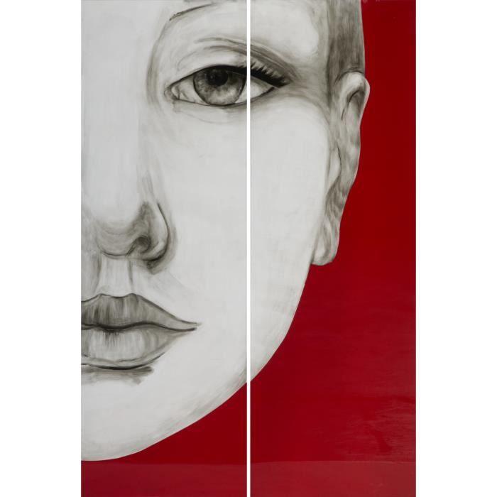 tableau peinture murale visage femme sur fond rouge fait main achat vente objet d coration. Black Bedroom Furniture Sets. Home Design Ideas