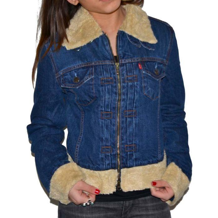 veste en jeans levis fourr ston bleu bleu stone achat. Black Bedroom Furniture Sets. Home Design Ideas